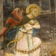Angel - fresco from Florence - detail of Annunciation - San Miniato al Monte church — Stock Photo