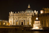 Rome - st. Peter s basilica and fountain at night — Stock Photo