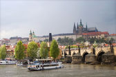 Prague - Charles bridge and cathedral for the storm — Stock Photo