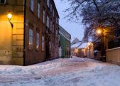 Bratislava - Kapituska street in winter morning — Stock Photo