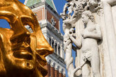Venice - gold mask and detail from Doge palace - Eva — Stock Photo