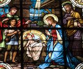 Christmas crib - windowpane from Banska Stiavnica - st. Katharine church — Stock Photo