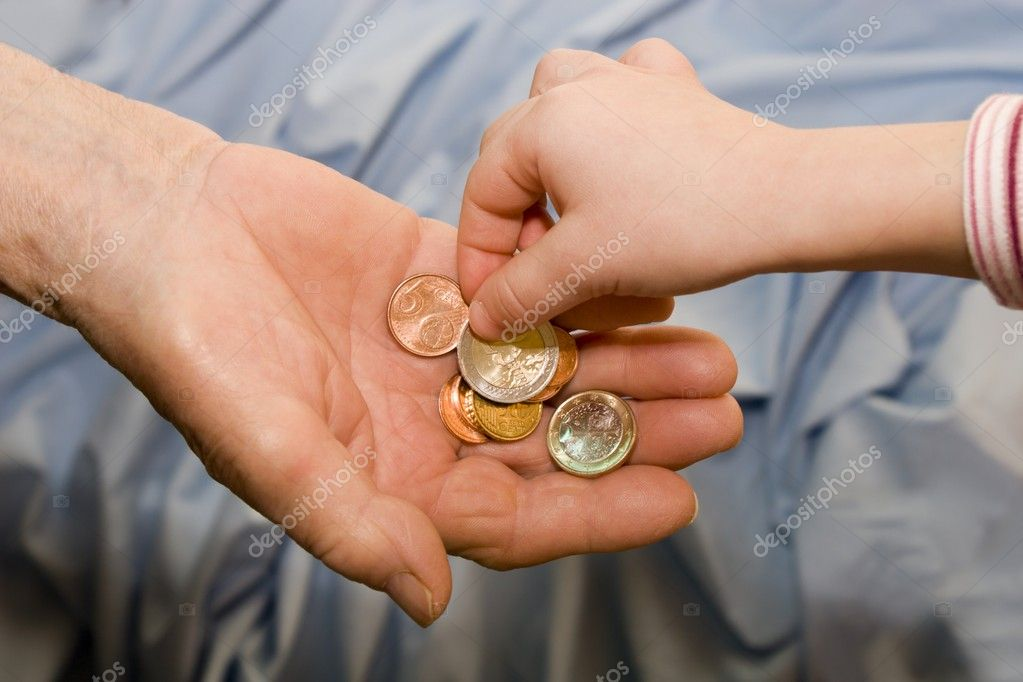 Money and hands of senior and child — Stock Photo #10890860