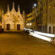 Pisa - waterfront and little chapel of santa Maria della Spina - night - Stock Photo