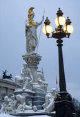 Vienna - parliament and Athena fountain in winter morning — Stock Photo