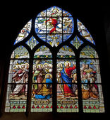 Paris - windowpane from Saint Severin gothic church - Jesus with the children — Stock fotografie