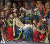 Milan - Deposition of Christ - Cappella della Passione in San Giorgio church by Bernardino Luini, 1516. — Foto de Stock