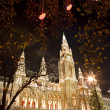 Stock Photo: Vienn- tower of town-hall and christmas decoration