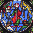 Paris - windowpane from Saint Denis gothic church - Jesus and four evangelists — Stock Photo