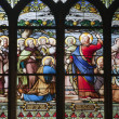 Stock Photo: Paris - windowpane from Saint Severin gothic church - Jesus gave Peter authority of Keys