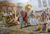 King David by dance - painting form Florence church — Stock Photo