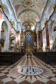 Prague - interior of baroque church of st. Nicholas - Old town square — Zdjęcie stockowe