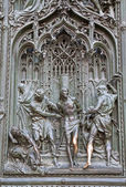 Milan - detail from main bronze gate - flagellation of Christ — Foto de Stock