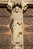Paris - Jesus Christ from main portal of Notre-Dame cathedral — Stock Photo