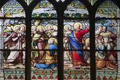 Paris - windowpane from Saint Severin gothic church - Jesus gave Peter the authority of the Keys — Stock Photo