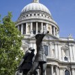London - memorial from first world war and st. Pauls cathedral - Stock Photo