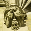Barcelona - detail from old gothic house - angels - Stock Photo