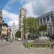 Gent - Saint Nicholas church and Hubertus and Johannes van Eyck memorial on June 24, 2012 in Gent, Belgium. - Stock Photo