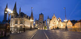 Gent - Look from Saint Michael s bridge to Nicholas church and town hall in evening on June 24, 2012 in Gent, Belgium. — Stock Photo