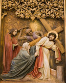 Bratislava - detail of gothic altar from st. Martins cathedral - Jesus and hl. Mary on the cross-way — Stock Photo