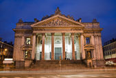 Brussels - The Stock Exchange of Brussels - Bourse in evening. — Stock Photo