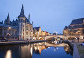 Gent - West facade of Post palace and Michael s bridge with the canal in evening from Graselei street on June 24, 2012 in Gent, Belgium. — Stock Photo