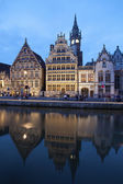 Gent - Palaces with the canal in evening from Korenlei street on June 24, 2012 in Gent, Belgium. — Stock Photo
