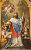 Rome - paint of holy king of France Louis IX from San Liugi church — Stock Photo