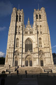 Brussels - Saint Michael and Saint Gudula gothic cathedral - west facade in evening light. — Stock Photo