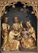 BRUSSELS - JUNE 24: Carving of Three Magi scene from Saint Antione church on June 24, in Brussels. — Stock Photo