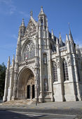Brussels - Notre Dame du Sablon gothic church - south portal. — Stock Photo