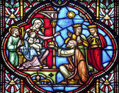 BRUSSELS - JUNE 22: Three Magi from windowpane in st. Michael s gothic cathedral on June 22, 2012 in Brussels. — Stock Photo