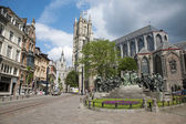 Gent - Saint Nicholas church and Hubertus and Johannes van Eyck memorial on June 24, 2012 in Gent, Belgium. — Stock Photo