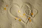 Cuori nella sabbia in autunno — Foto Stock