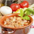 Beans with pigskin — Stock Photo