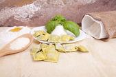 Ravioli with ricotta and basil — Stock Photo