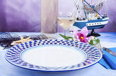 Table set with plate decorated — Stock Photo