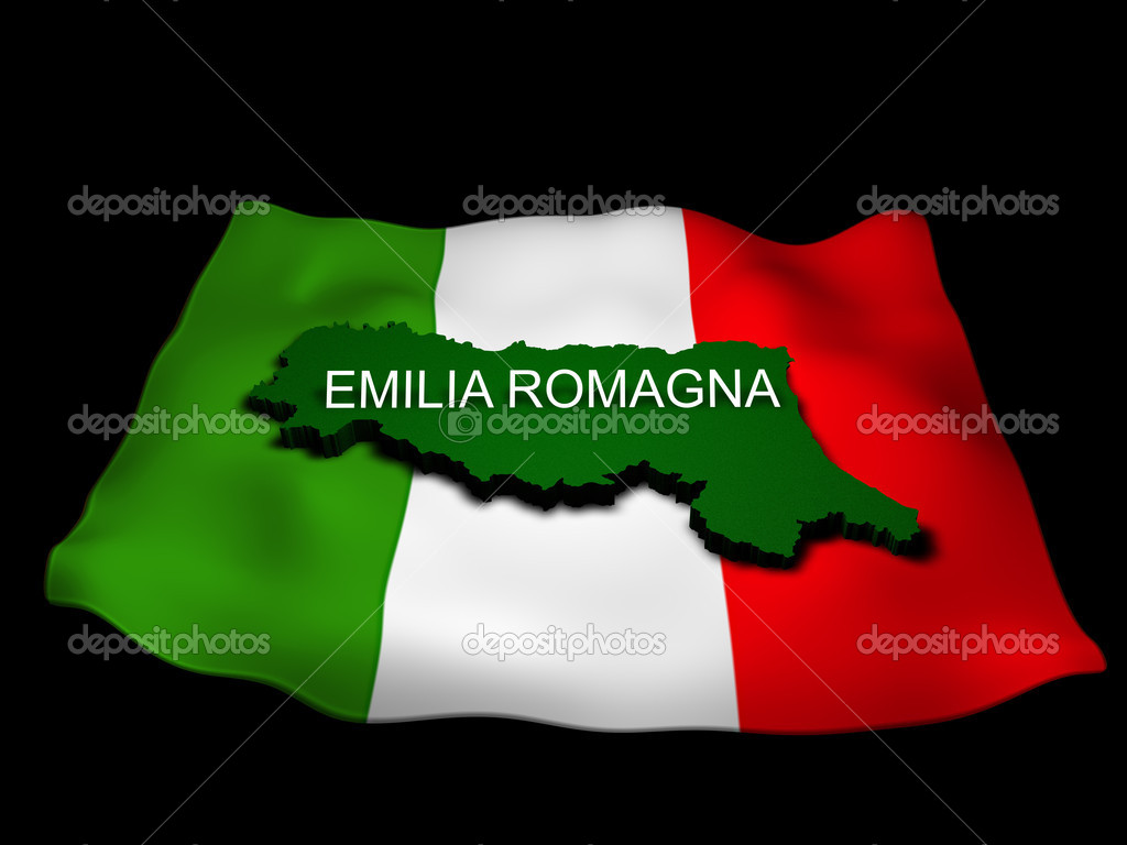 Regione emilia romagna e la bandiera italiana — Stock Photo #11271348