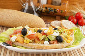 Mixed salad with bread and various cereals (pansanella) — Stock Photo