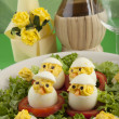 Spirit boiled eggs made ​​with chicken meat — Stock Photo