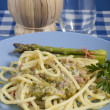 Stock Photo: Bucatini with asparagus