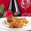 Stock Photo: Chicken cacciatore with boiled zucchini and tomato