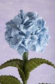 Crochet flowers blue hydrangea — Stock Photo