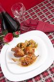 Chicken cacciatore with boiled zucchini and tomato — Stock Photo