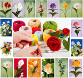 Crochet flowers — Stock Photo