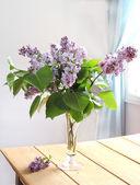 Rosa lila buketten i vas — Stockfoto