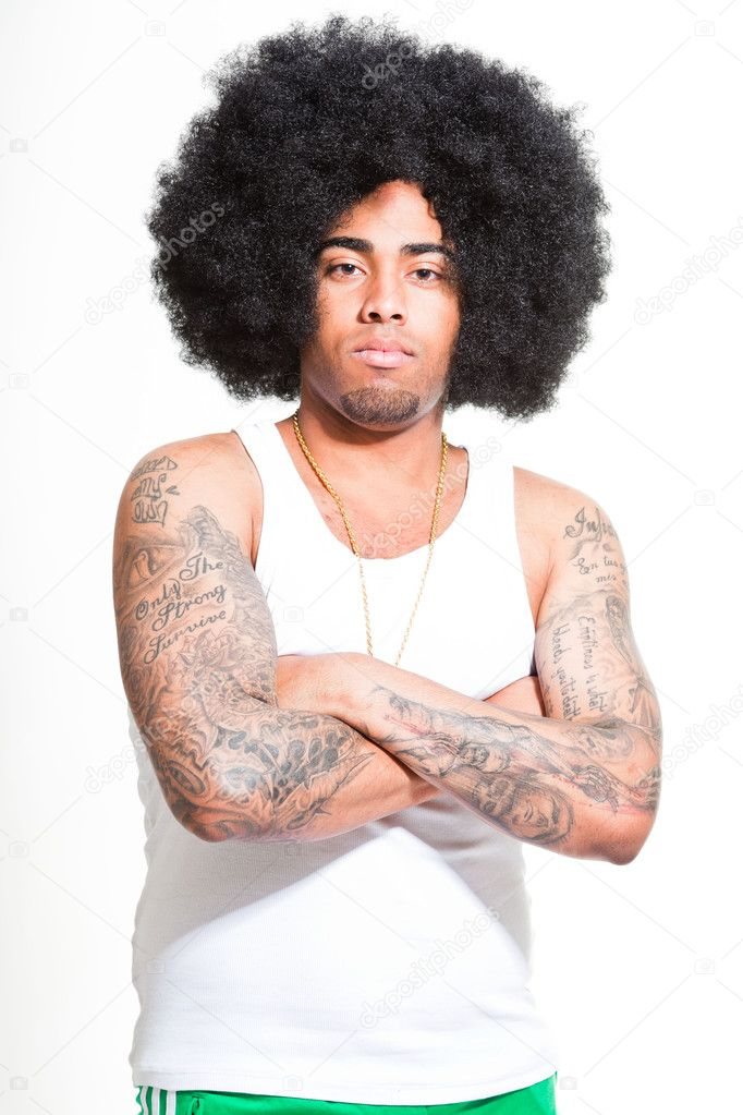Hip hop urban black man retro afro hair wearing white shirt and bling bling isolated on white. Looking confident. Cool guy. Studio shot. — Stock Photo #11227749