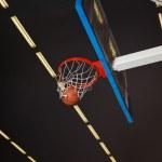 Basketball board and basketball ball — Stock Photo