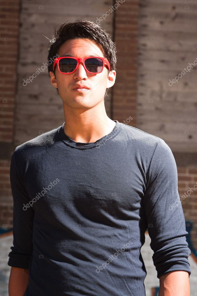 Urban asian man with red sunglasses. Good looking. Cool ...