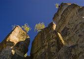 Enormi rocce con alberi in primo piano — Foto Stock